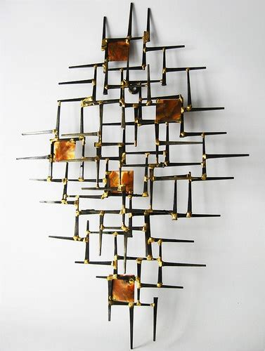 Ballard Design Mirror 1970 s nails metal abstract wall art sculpture mid century