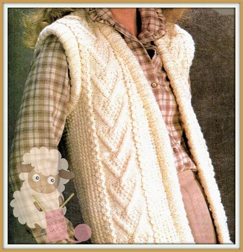 knitted gilet pattern pdf knitting pattern for a cabled aran waistcoat gilet