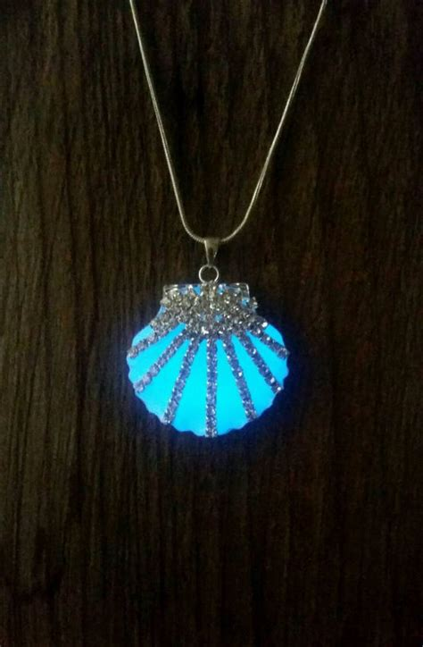 how to make glow in the jewelry mermaid glow in the necklace blue glowing shell ariel