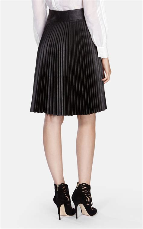 leather pleated skirt millen faux leather pleated skirt in brown lyst