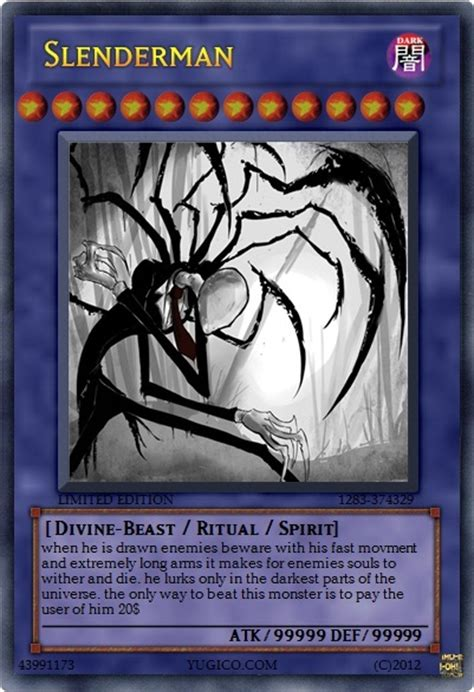 who makes yugioh cards slenderman yu gi oh card by someguy1112 on deviantart