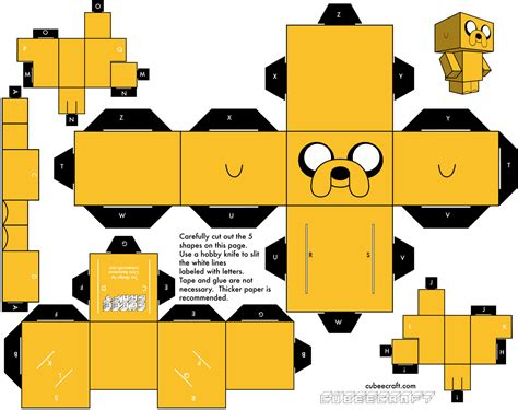 adventure time paper craft here s a printable papercraft jake courtesy of cubeecraft