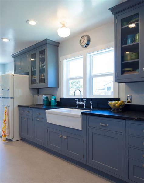 classic vintage modern kitchen blue gray cabinets inset vintage blue galley kitchen traditional kitchen san