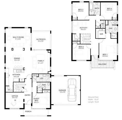 2 story floor plans small two story house plans narrow lot