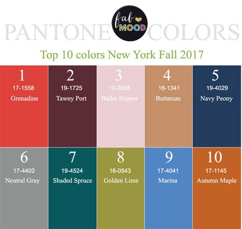2017 new york pantone fall 2017 color palettes new york color