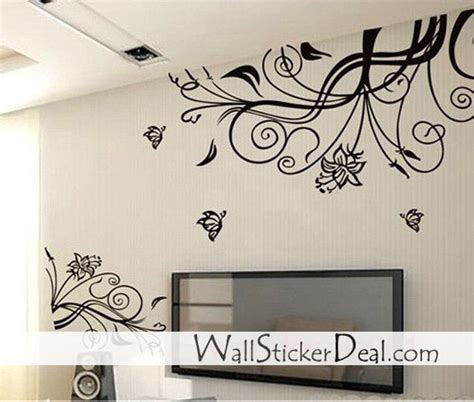 home stickers for walls home decorating images lovely flower with butterfly wall
