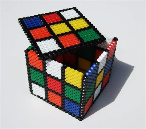 bead boxes keepsake box rubix cube perler bead box retro 80s by