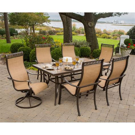 patio 7 dining set shop hanover outdoor furniture monaco 7 bronze