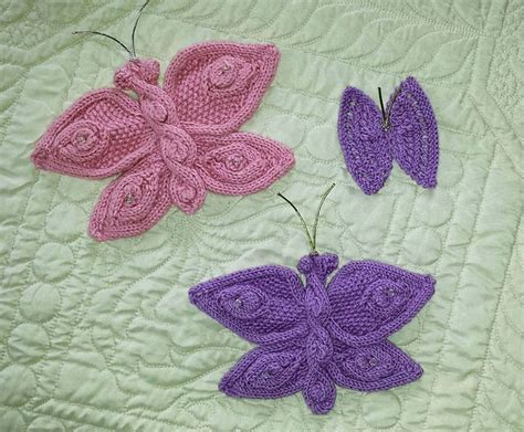 knitted butterfly knitted flowers and butterflies pattern by mypicot