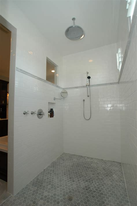 Black Beaded Door Curtain by Subway Tile Shower Bathroom Traditional With Bungalow