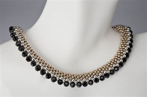 silver beaded necklace custom beaded necklace in gold silver and black