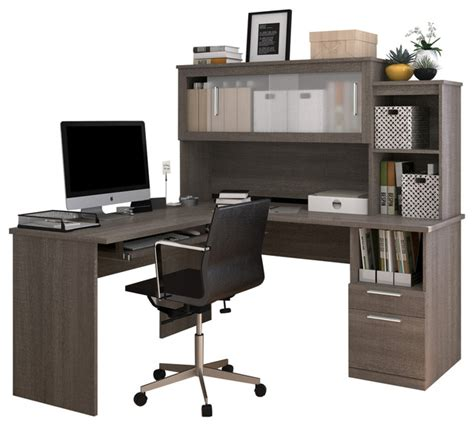 frosted glass l shaped desk bestar modern bark gray l shaped desk and hutch with