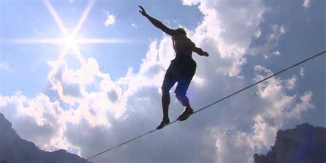 tight rope daredevil mich kemeter achieves world record slackline