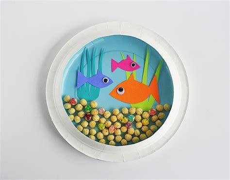 paper fish bowl craft paper plate fish bowl munchkins and