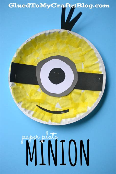 minion crafts for paper plate minion kid craft glued to my crafts