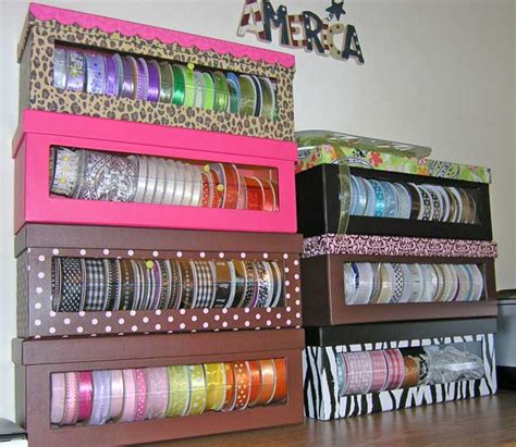 hobby lobby craft paper ribbon storage boxes from hobby lobby diy w shoe boxes