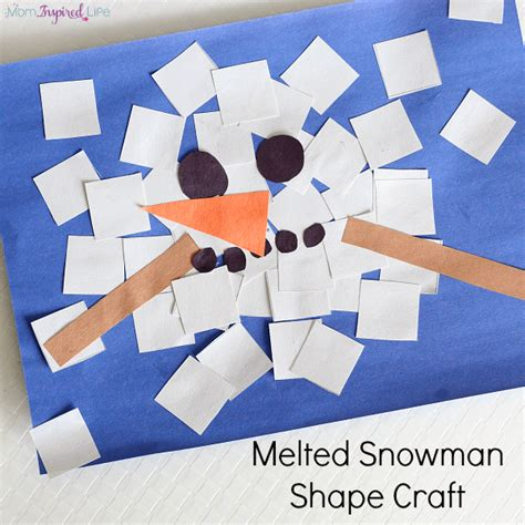 arts and craft activities for melted snowman shape craft collage
