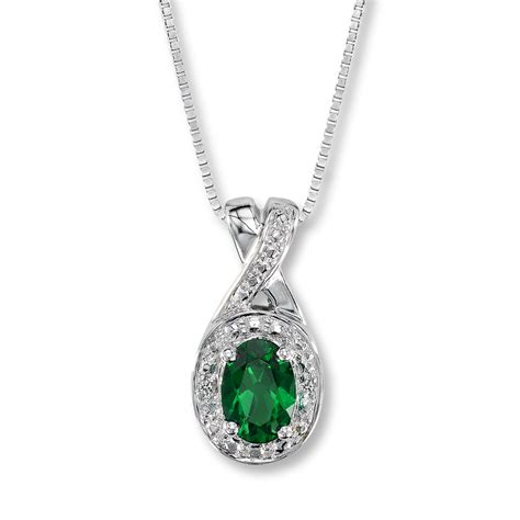 emerald necklace lab created emerald necklace with diamonds sterling