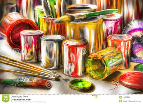 acrylic painting equipment painting tools stock photo image of containers acrilicos