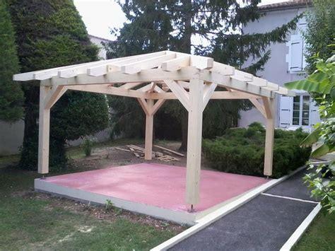 Garage Plans With Carport kiosque en bois carr 233 ossature tenon et mortaise
