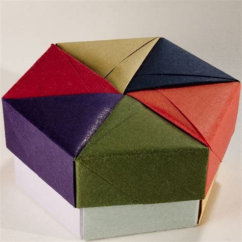 origami box and lid decorative hexagonal origami gift box with lid 05