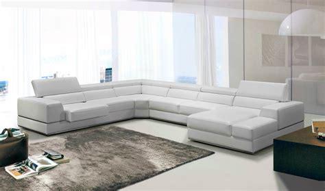 white sectional sofa leather divani casa pella modern white leather sectional sofa