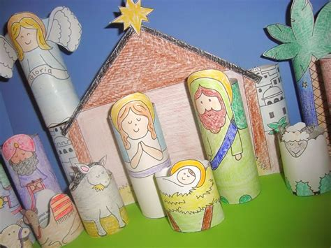 manger craft for stick or staples crayons of nativity set