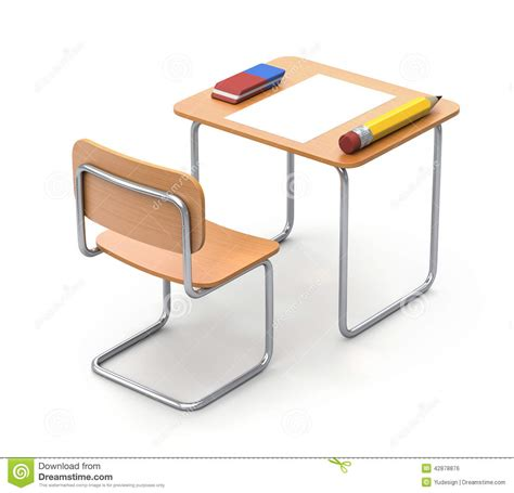 desk with the pencil and eraser stock illustration