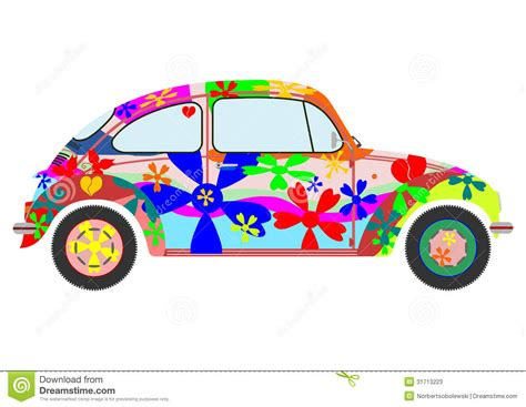 colorfur retro hippie car stock photos image 31713223