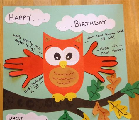 birthday craft projects happy birthday card handprint quot with from owl