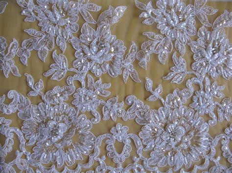white beaded lace fabric white corded and beaded embroidery tulle lace fabric