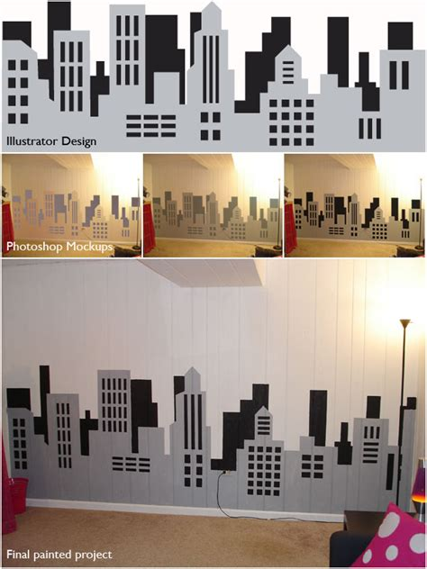 spray paint chicago skyline painting a skyline wall mural