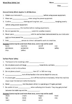 Wood Shop Safety Test With Answer Key By Scitech Tpt