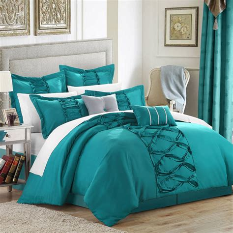 teal king size comforter sets turquoise chic home ruth ruffled comforter set