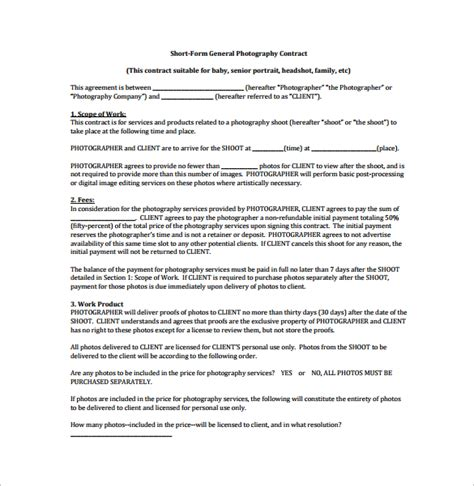 photography contract 12 download free documents in word pdf