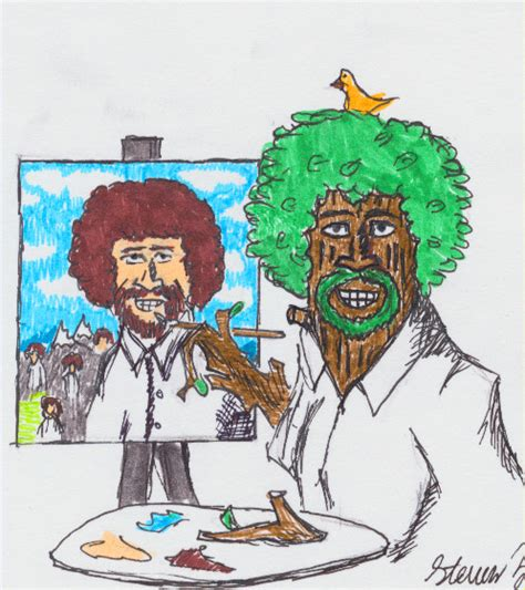 bob ross painting happy trees painting bob ross with happy trees by crimsonhussar