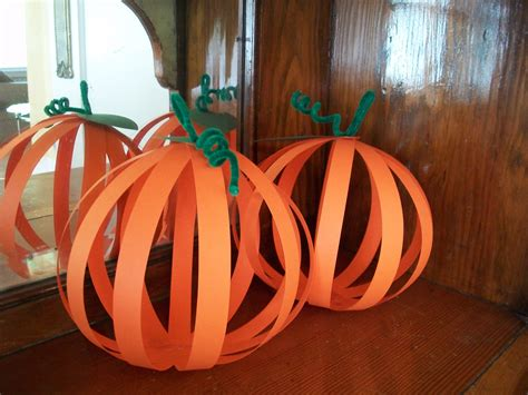 paper pumpkin craft construction paper and pipe cleaners are about all you