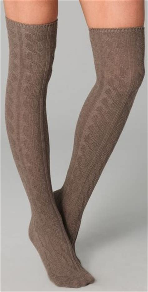 knit the knee socks madewell cable knit the knee socks in brown lyst