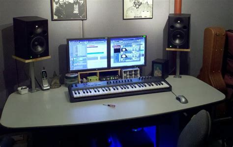 studio monitors on desk show me your or custom made console or studio
