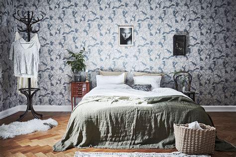 scandinavian bedroom style scandinavian style and bold wallpaper in bedroom