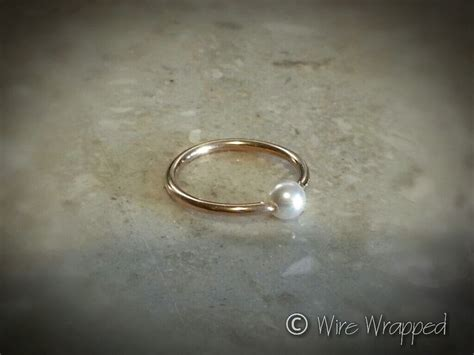 captive bead ring nose piercing captive tiny pearl bead navel belly nose septum ring