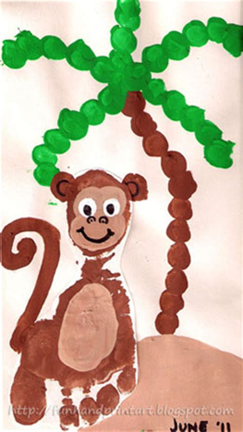 monkey craft for footprint monkey family crafts