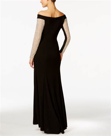 xscape beaded illusion gown xscape the shoulder beaded illusion gown in black