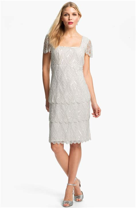 pisarro nights beaded mesh dress pisarro nights beaded tiered mesh dress in white ivory