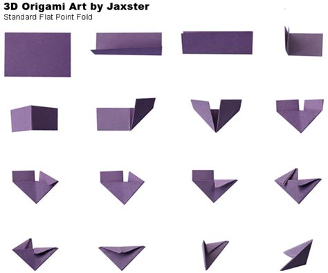 3d origami diagram standard flat point fold 3d origami