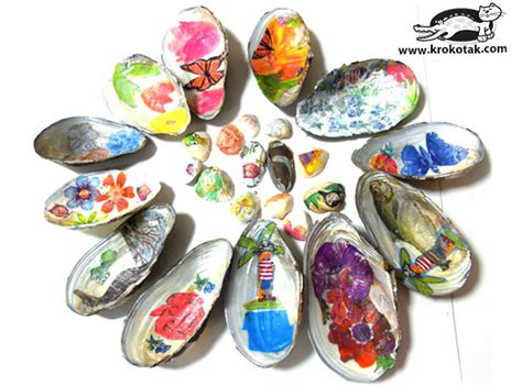 decoupage pva glue krokotak decoupage on sea shells