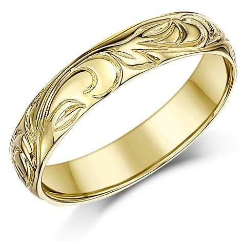 gold uk 4mm 9ct yellow gold swirl patterned wedding ring band