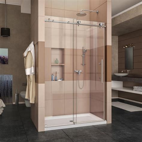 sliding glass shower doors lowes shop dreamline enigma x 44 in to 48 in w x 76 in h