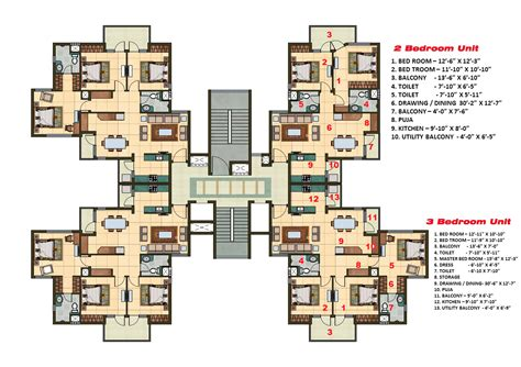 Kitchen Dining Room Floor Plans 2 and 3 bhk apartment cluster tower layout plan n design