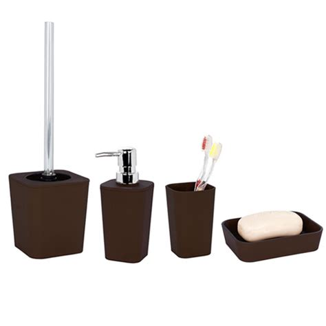 uk bathroom accessories wenko rainbow ceramic bathroom accessories set brown at
